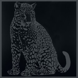 Gran Galà leopardo seduto nero | Ceramic tiles | Petracer's Ceramics