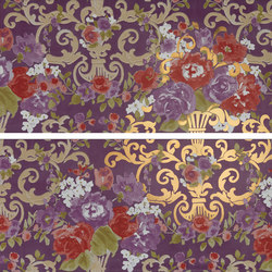 Gran Galà mary fioritura su viola oro | Piastrelle | Petracer's Ceramics