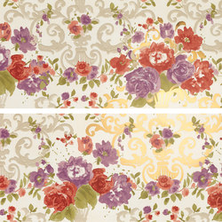 Primavera Romana fioritura su bianco oro | Wandfliesen | Petracer's Ceramics