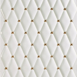 Capitonné white rounded with gold inset | Ceramic tiles | Petracer's Ceramics