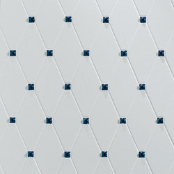 Capitonné white smooth with blue insets | Ceramic tiles | Petracer's Ceramics