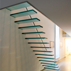 Floating | Straight Stairs Glass TRE-474 | Scale | EeStairs
