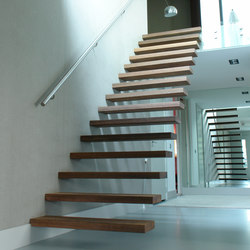 Floating Stairs Wood TRE-513 | Escaliers en bois | EeStairs