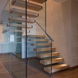 Floating Stairs Wood TWE-629 | Glass stairs | EeStairs