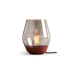 Bowl Table Lamp Raw Copper w. Light Smoked Glass | General lighting | NEW WORKS