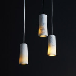 Core | Three Pendant Cluster in Carrara Marble | Suspended lights | Terence Woodgate