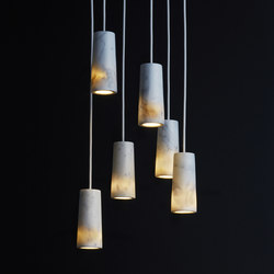 Core | Six Pendant Cluster in Carrara Marble | Suspended lights | Terence Woodgate