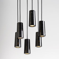 Core | Six Pendant Cluster in Nero Marquina Marble | Suspended lights | Terence Woodgate