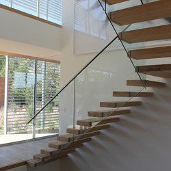 Floating | Straight Stairs Wood TRE-566 | Escaliers en bois | EeStairs