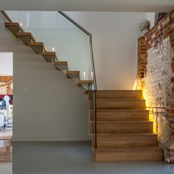 Floating | Straight Stairs Wood TRH-571 | Wood stairs | EeStairs