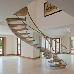 Floating Stairs Wood TWE-525 | Escaliers en bois | EeStairs