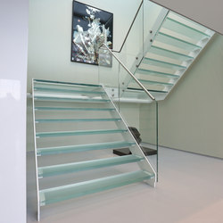 Straight Stairs Glass TRE-609 | Glass stairs | EeStairs