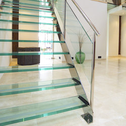 Straight Stairs Glass TRE-073 | Scale | EeStairs