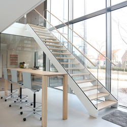 Straight Stairs Wood TRH-615 | Glass stairs | EeStairs