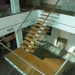 Straight Stairs Wood TRE-532 | Glass stairs | EeStairs