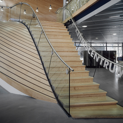 Straight Stairs Wood TRE-140 | Glass stairs | EeStairs