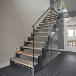 Straight Stairs Wood TRH-597 | Glass stairs | EeStairs