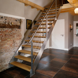 Straight Stairs Wood TRE-304 | Glass stairs | EeStairs