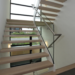 Straight Stairs Wood TRE-561 | Glass stairs | EeStairs