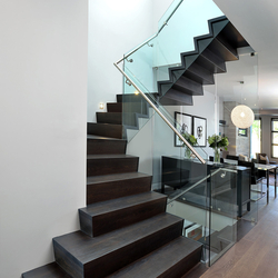 Straight Stairs Wood TRE-999 | Glass stairs | EeStairs