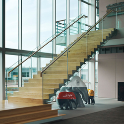 Straight Stairs Wood TRE-505 | Glass stairs | EeStairs