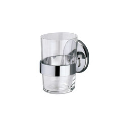 Hotellerie Wall-mounted tumbler holder with extra clear transparent glass tumbler | Toothbrush holders | Inda