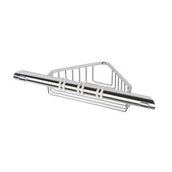 Hotellerie Grab-bar for shower, with anti-slip thermoplastic rubber and basket | Grab rails | Inda