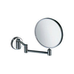 Hotellerie Wall-mounted magnifying mirror, double jointed arm, 18 cm Ø mirror | Bath mirrors | Inda