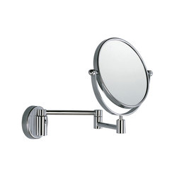 Hotellerie Wall-mounted magnifying mirror, double jointed arm, 18 cm Ø mirror | Wall mirrors | Inda