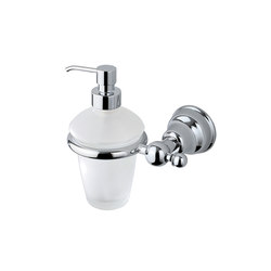 Raffaella Wall-mounted soap dispenser with satined glass container and chrome-plated brass pump | Soap dispensers | Inda