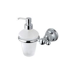 Raffaella Dosificador de jabón líquido de pared con recipiente de vidrio satinado, dispensador en latón cromado | Dosificadores de jabón | Inda