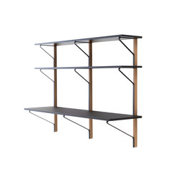 Kaari Wall Shelf with Desk - REB010 | Shelving | Artek