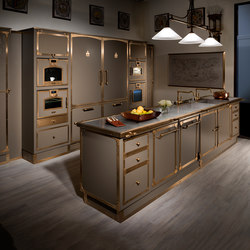 BEIGE GREY & BURNISHED BRASS KITCHEN | Fitted kitchens | Officine Gullo