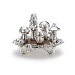 Wolfgang Joop – Magic Mushrooms Centerpiece Wood | Salt & pepper shakers | Wiener Silber Manufactur