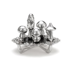Wolfgang Joop – Magic Mushrooms Centerpiece Dark Wood | Salt & pepper shakers | Wiener Silber Manufactur