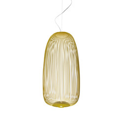 Spokes 1 suspension amarillo dorado | General lighting | Foscarini