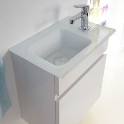 Bel | Guest bath glass washbasin incl. vanity unit | Mobili lavabo | burgbad
