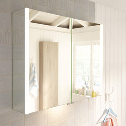 Bel | Mirror cabinet with vertical LED-lighting and indirect lighting of washbasin | Mirror cabinets | burgbad