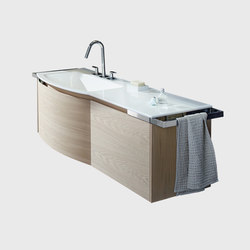 Yso | Ceramic washbasin round incl. vanity unit | Vanity units | burgbad