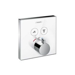 Hansgrohe ShowerSelect glass thermostatic mixer for concealed installation for 2 outlets | Shower taps / mixers | Hansgrohe