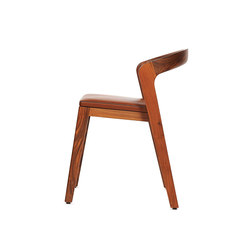 Play Chair – Solid American Walnut with camel calf leather cushion | Restaurant chairs | Wildspirit