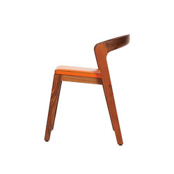 Play Chair – Solid American Walnut with orange calf leather cushion | Sillas para restaurantes | Wildspirit