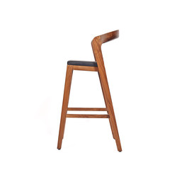 Play Barstool High – Solid American Walnut with black calf leather cushion | Restaurant chairs | Wildspirit