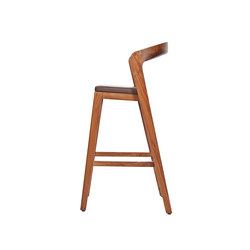 Play Barstool High – Solid American Walnut with dark brown calf leather cushion | Restaurant chairs | Wildspirit