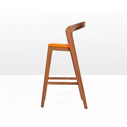 Play Barstool High – Solid American Walnut with orange calf leather cushion | Restaurant chairs | Wildspirit