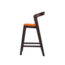 Play Barstool Low – Oak Stained with orange calf leather cushion | Restaurant chairs | Wildspirit