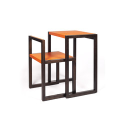Visa – Oak Stained, upholstered with orange calf leather | Individual desks | Wildspirit