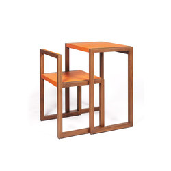 Visa – Solid American Walnut, upholstered with orange calf leather | Escritorios | Wildspirit