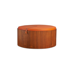 Stoll 90 – Walnut Stained with orange calf leather cushion | Storage boxes | Wildspirit