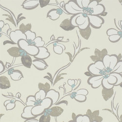Amrapali Wallpaper | Lotus Flower - Teal | Papeles pintados | Designers Guild